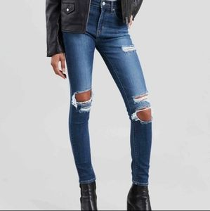 LEVI'S 721 High Rise Skinny Blue Distressed W26L30